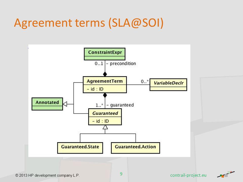 © 2013 HP development company L.P. Agreement terms (SLA@SOI) Description – Detail 9 contrail-project.eu