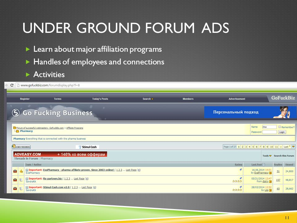 UNDER GROUND FORUM ADS  Learn about major affiliation programs  Handles of employees and connections  Activities 11