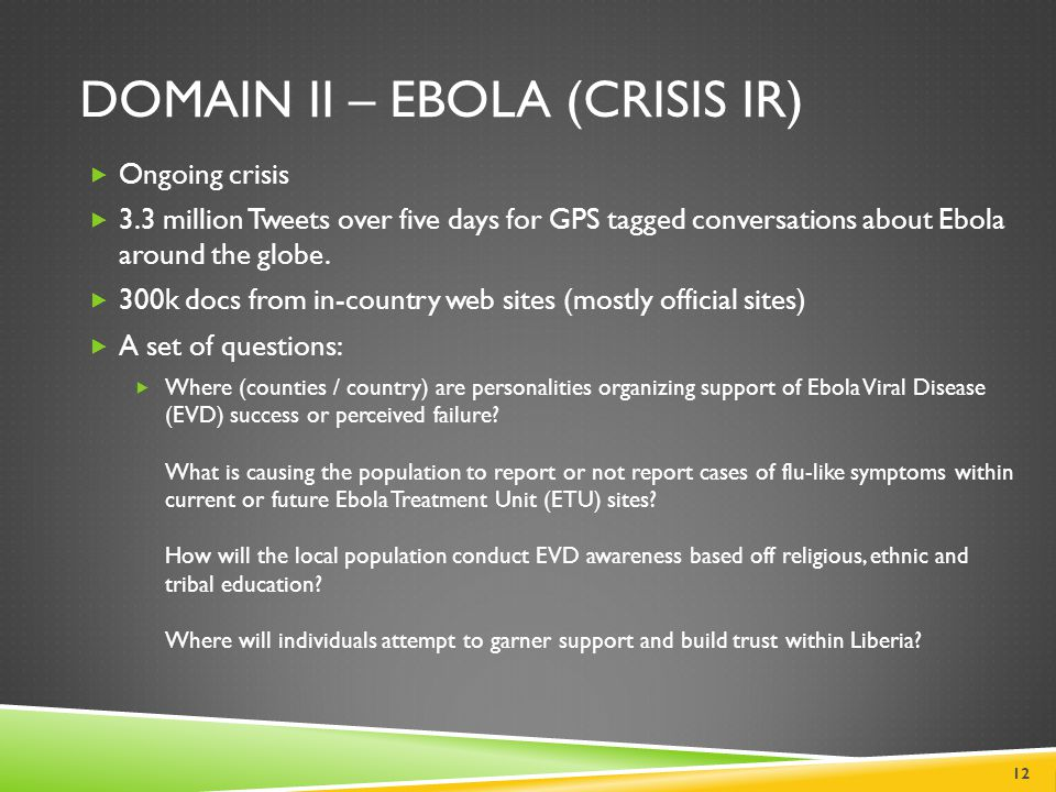 DOMAIN II – EBOLA (CRISIS IR)  Ongoing crisis  3.3 million Tweets over five days for GPS tagged conversations about Ebola around the globe.  300k d