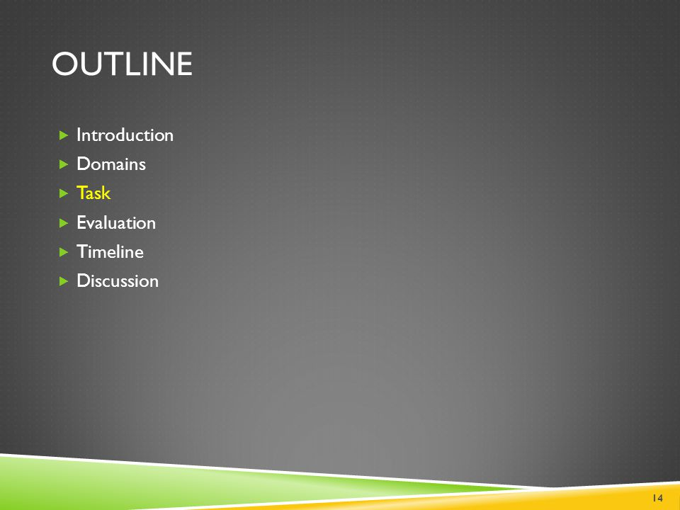 OUTLINE  Introduction  Domains  Task  Evaluation  Timeline  Discussion 14