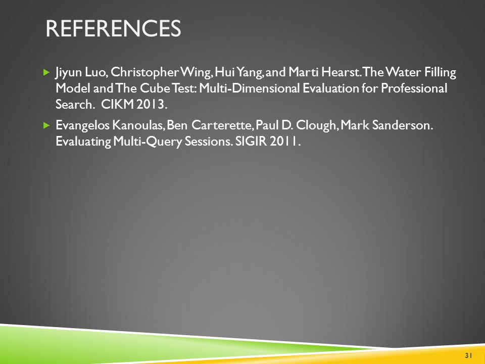 REFERENCES  Jiyun Luo, Christopher Wing, Hui Yang, and Marti Hearst. The Water Filling Model and The Cube Test: Multi-Dimensional Evaluation for Prof