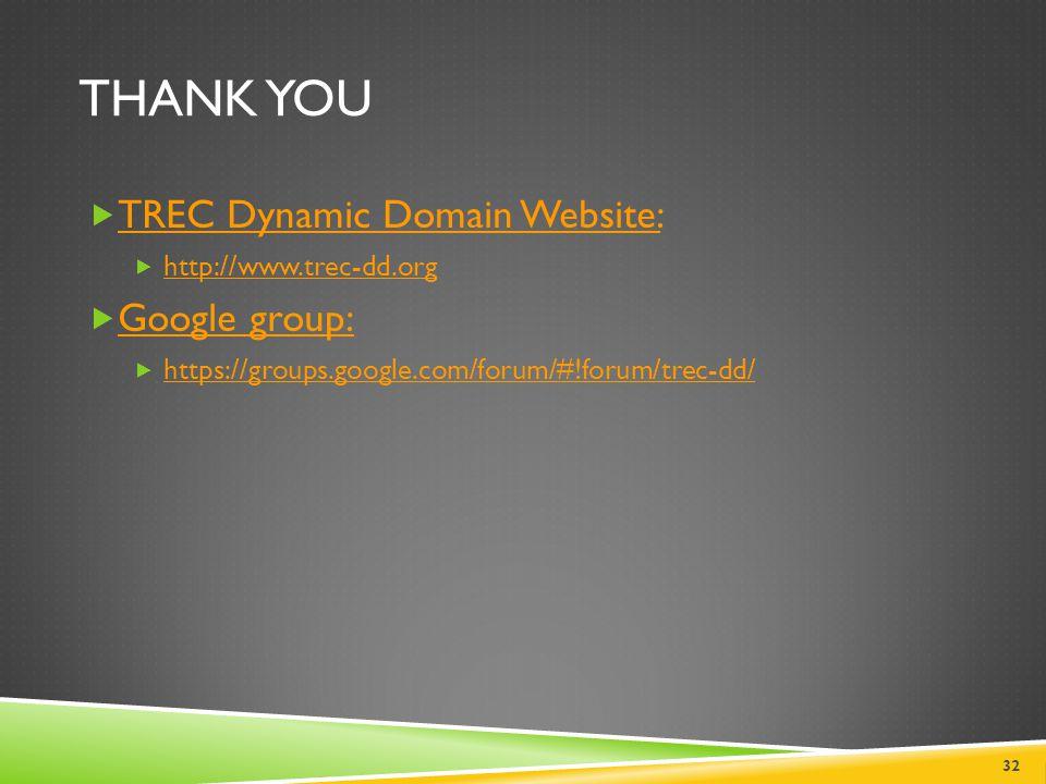 THANK YOU  TREC Dynamic Domain Website: TREC Dynamic Domain Website:  http://www.trec-dd.org http://www.trec-dd.org  Google group: Google group: 