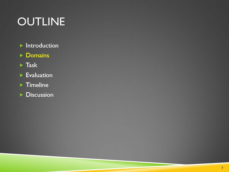 OUTLINE  Introduction  Domains  Task  Evaluation  Timeline  Discussion 7