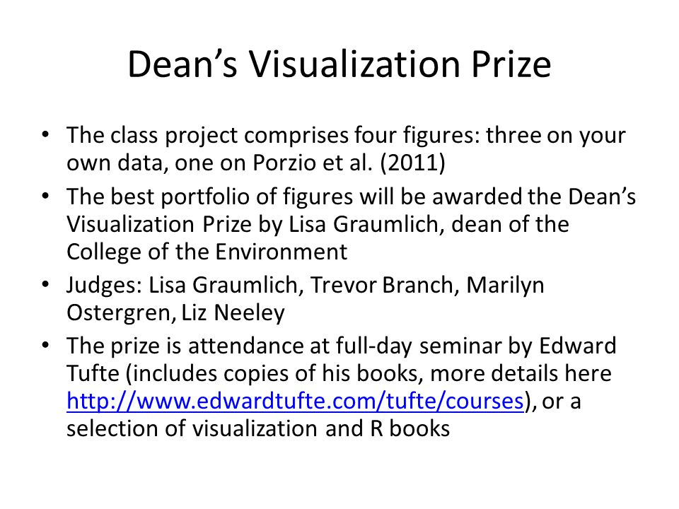 Dean's Visualization Prize The class project comprises four figures: three on your own data, one on Porzio et al.