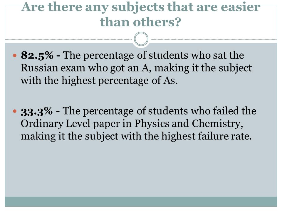 Are there any subjects that are easier than others? 82.5% - The percentage of students who sat the Russian exam who got an A, making it the subject wi