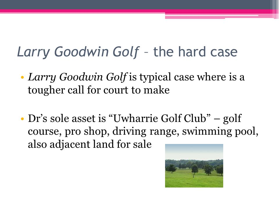 Larry Goodwin Golf – the hard case Larry Goodwin Golf is typical case where is a tougher call for court to make Dr's sole asset is Uwharrie Golf Club – golf course, pro shop, driving range, swimming pool, also adjacent land for sale