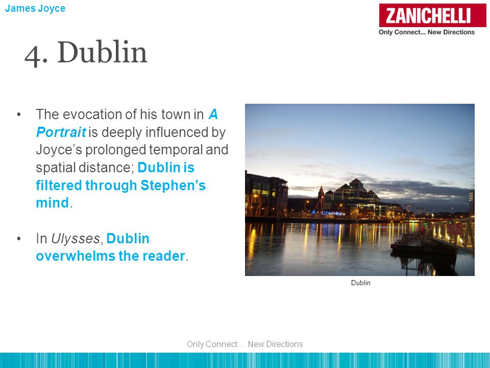 James Joyce 4. Dublin The evocation of his town in A Portrait is deeply influenced by Joyce's prolonged temporal and spatial distance; Dublin is filte