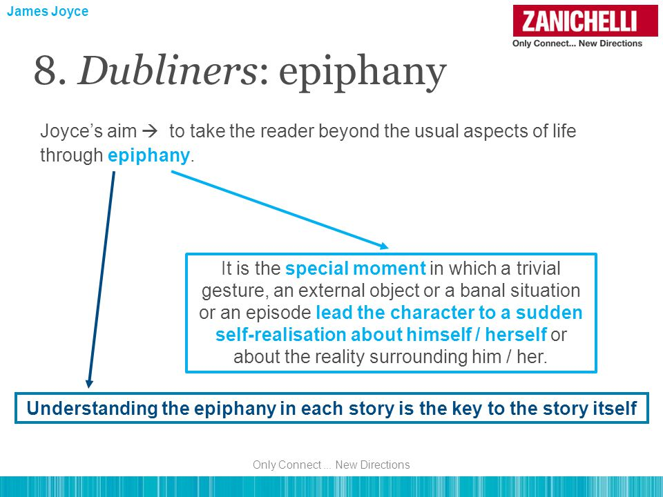 Joyce's aim  to take the reader beyond the usual aspects of life through epiphany. James Joyce 8. Dubliners: epiphany It is the special moment in whi