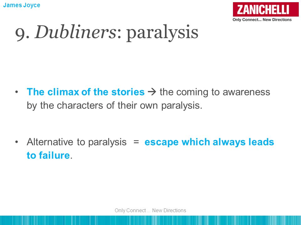 James Joyce 9. Dubliners: paralysis The climax of the stories  the coming to awareness by the characters of their own paralysis. Alternative to paral