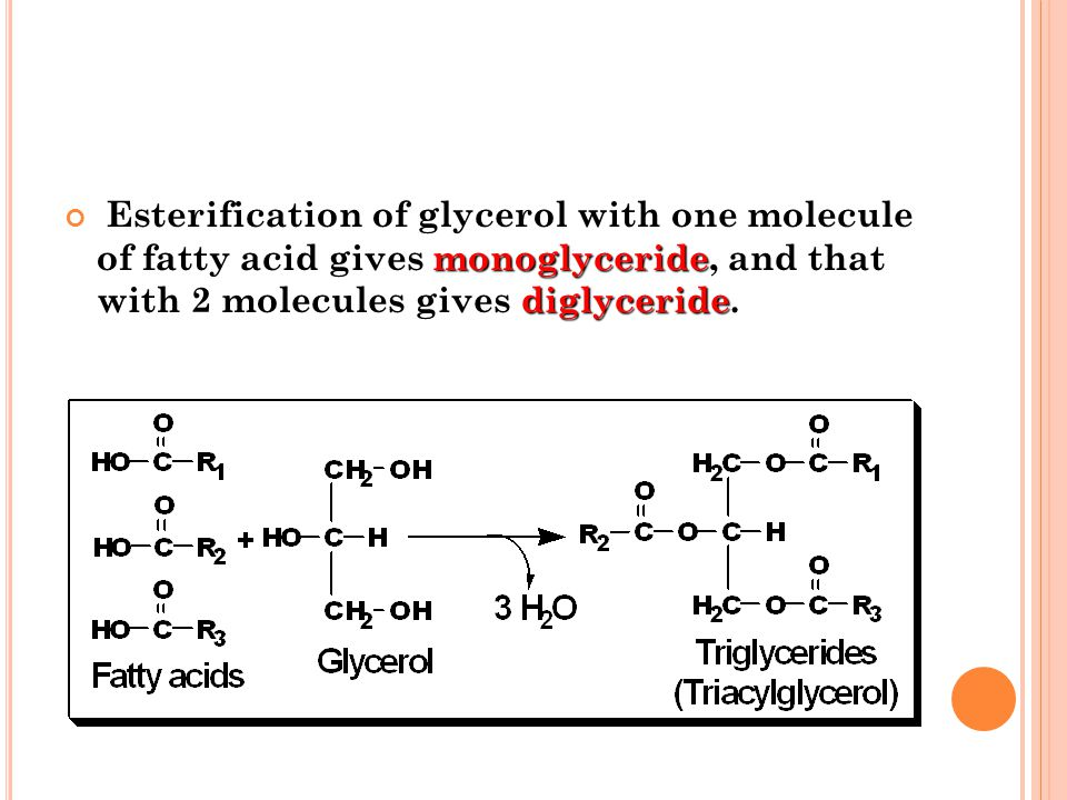 Esterification of glycerol with one molecule of fatty acid gives monoglyceride, and that with 2 molecules gives diglyceride. Esterification of glycero