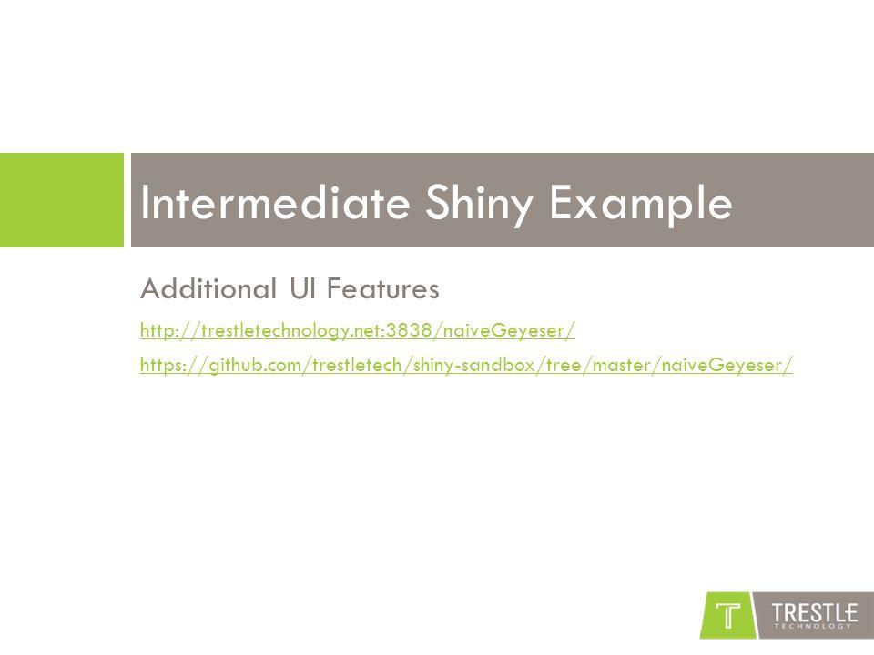 Additional UI Features http://trestletechnology.net:3838/naiveGeyeser/ https://github.com/trestletech/shiny-sandbox/tree/master/naiveGeyeser/ Intermediate Shiny Example