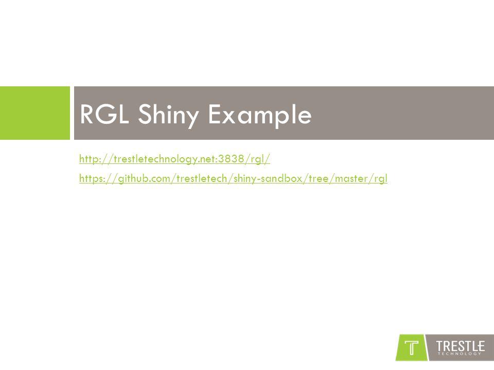 http://trestletechnology.net:3838/rgl/ https://github.com/trestletech/shiny-sandbox/tree/master/rgl RGL Shiny Example