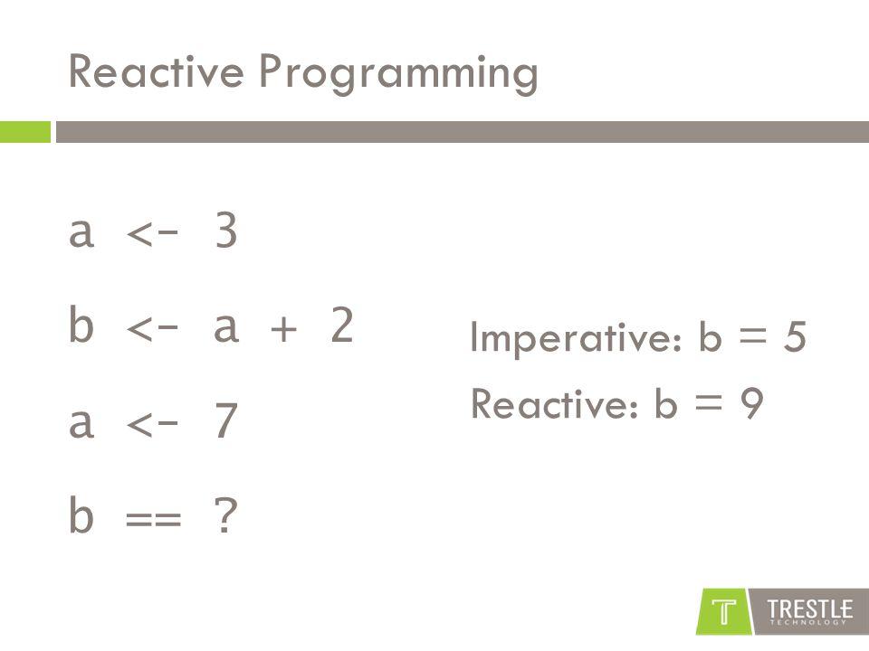 Reactive Programming a <- 3 b <- a + 2 a <- 7 b == Imperative: b = 5 Reactive: b = 9