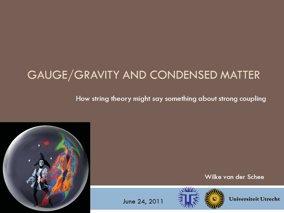 GAUGE/GRAVITY AND CONDENSED MATTER How string theory might say something about strong coupling Wilke van der Schee June 24, 2011