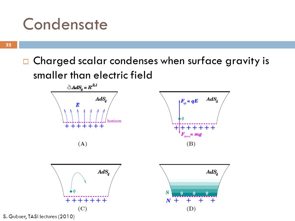 Condensate 22 S. Gubser, TASI lectures (2010)  Charged scalar condenses when surface gravity is smaller than electric field