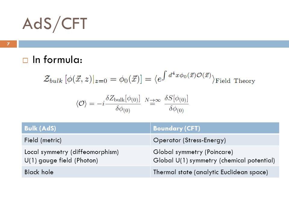 AdS/CFT  In formula: 7 Bulk (AdS)Boundary (CFT) Field (metric)Operator (Stress-Energy) Local symmetry (diffeomorphism) U(1) gauge field (Photon) Glob