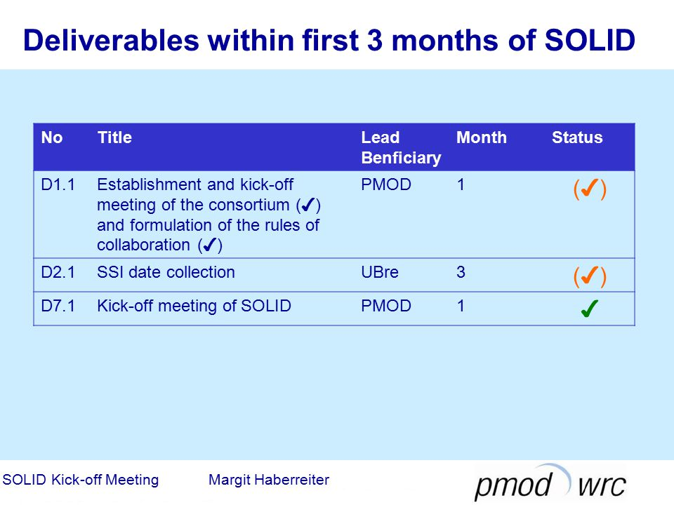 Deliverables within first 3 months of SOLID NoTitleLead Benficiary MonthStatus D1.1Establishment and kick-off meeting of the consortium ( ✔ ) and form