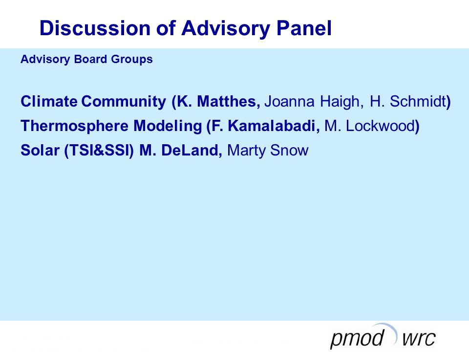 Discussion of Advisory Panel Advisory Board Groups Climate Community (K.