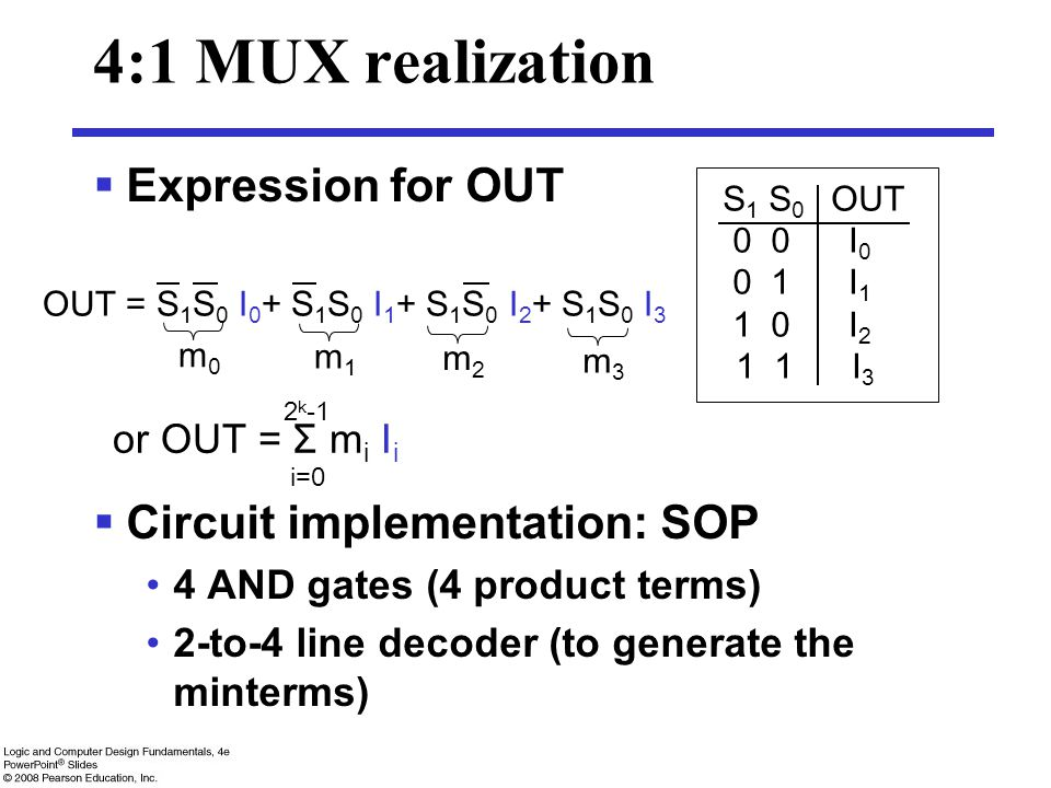 4:1 MUX realization  Expression for OUT  Circuit implementation: SOP 4 AND gates (4 product terms) 2-to-4 line decoder (to generate the minterms) S