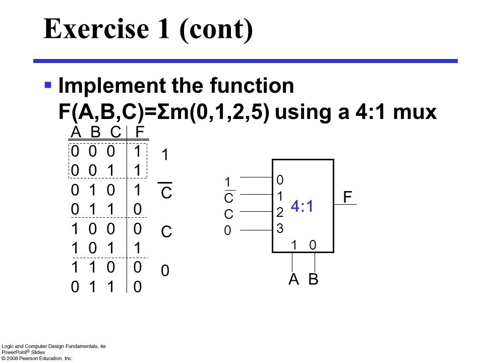 Exercise 1 (cont)  Implement the function F(A,B,C)=Σm(0,1,2,5) using a 4:1 mux A B C F 0 0 0 1 0 0 1 1 0 1 0 1 1 0 1 0 0 0 1 0 1 1 1 1 0 0 0 1 1 0 1C