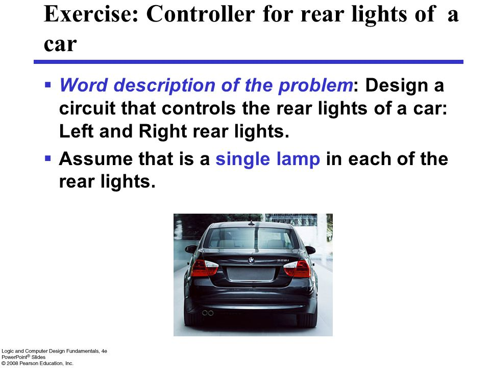 Exercise: Controller for rear lights of a car  Word description of the problem: Design a circuit that controls the rear lights of a car: Left and Rig