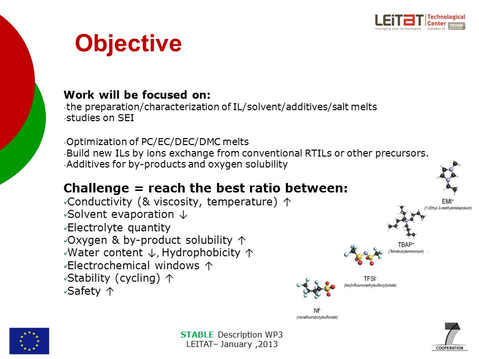STABLE Description WP3 LEITAT– January,2013 Objective Work will be focused on: - the preparation/characterization of IL/solvent/additives/salt melts - studies on SEI - Optimization of PC/EC/DEC/DMC melts - Build new ILs by ions exchange from conventional RTILs or other precursors.
