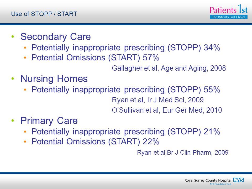 Use of STOPP / START Secondary Care Potentially inappropriate prescribing (STOPP) 34% Potential Omissions (START) 57% Gallagher et al, Age and Aging, 2008 Nursing Homes Potentially inappropriate prescribing (STOPP) 55% Ryan et al, Ir J Med Sci, 2009 O'Sullivan et al, Eur Ger Med, 2010 Primary Care Potentially inappropriate prescribing (STOPP) 21% Potential Omissions (START) 22% Ryan et al,Br J Clin Pharm, 2009