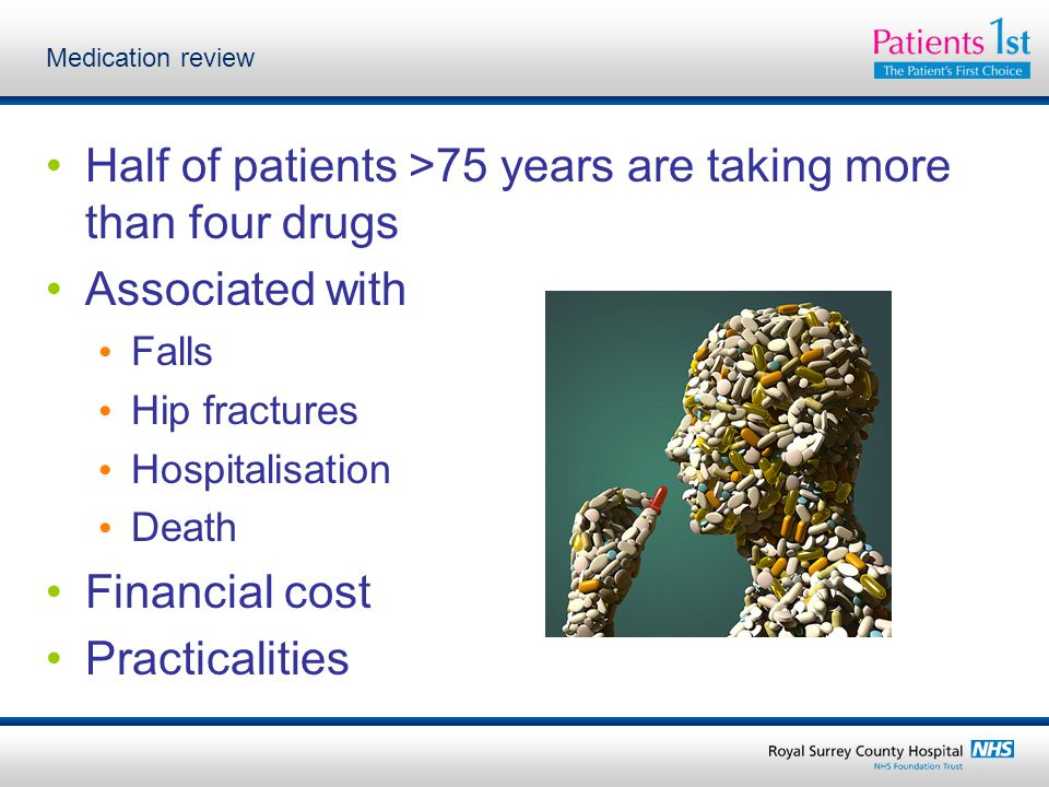 Medication review Half of patients >75 years are taking more than four drugs Associated with Falls Hip fractures Hospitalisation Death Financial cost Practicalities