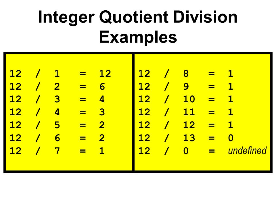 Integer Quotient Division Examples 12 / 1 = 12 12 / 2 = 6 12 / 3 = 4 12 / 4 = 3 12 / 5 = 2 12 / 6 = 2 12 / 7 = 1 12 / 8 = 1 12 / 9 = 1 12 / 10 = 1 12 / 11 = 1 12 / 12 = 1 12 / 13 = 0 12 / 0 = undefined