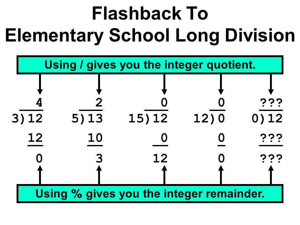 Flashback To Elementary School Long Division 4 3)12 12 0 Using / gives you the integer quotient.