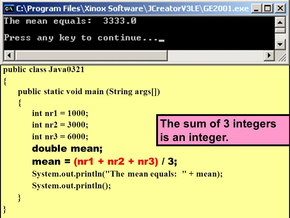 // Java0321.java // This program demonstrates that the intended computation may not be // performed by Java.