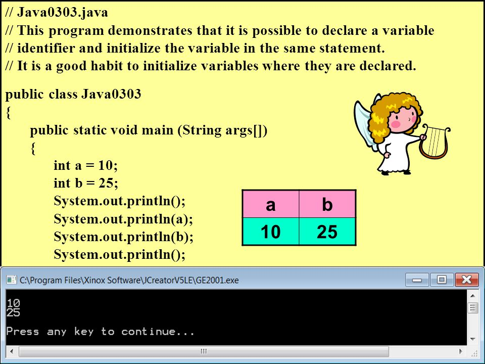 // Java0303.java // This program demonstrates that it is possible to declare a variable // identifier and initialize the variable in the same statement.