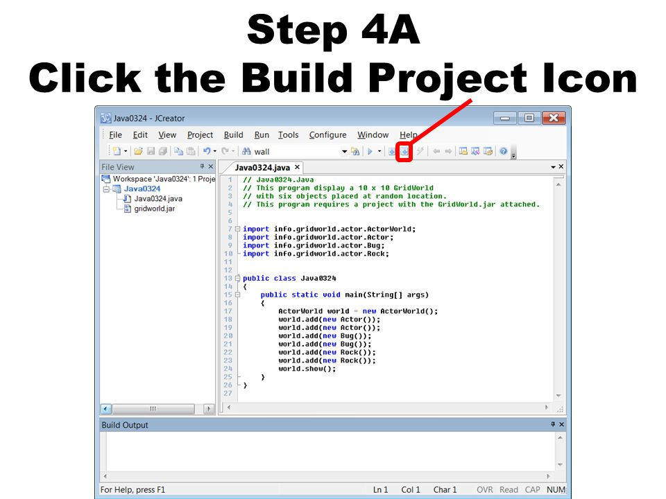 Step 4A Click the Build Project Icon