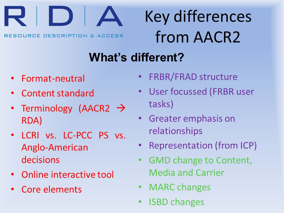 Key differences from AACR2 Format-neutral Content standard Terminology (AACR2  RDA) LCRI vs.