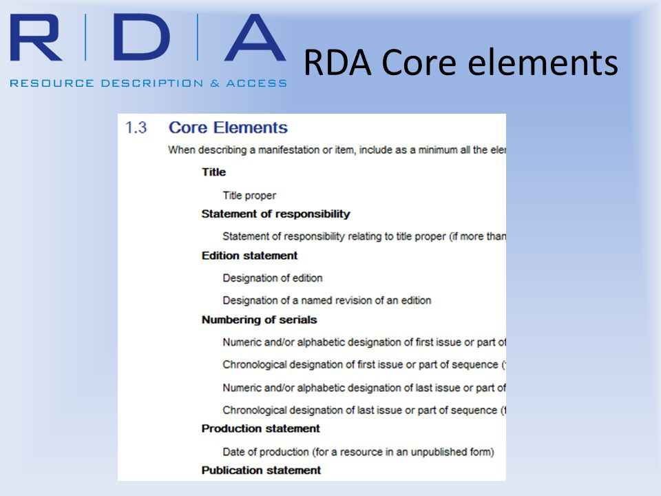 RDA Core elements