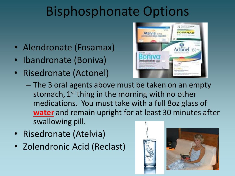 Bisphosphonate Options Alendronate (Fosamax) Ibandronate (Boniva) Risedronate (Actonel) – The 3 oral agents above must be taken on an empty stomach, 1