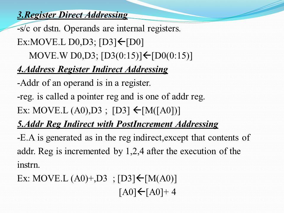 3.Register Direct Addressing -s/c or dstn. Operands are internal registers. Ex:MOVE.L D0,D3; [D3]  [D0] MOVE.W D0,D3; [D3(0:15)]  [D0(0:15)] 4.Addre