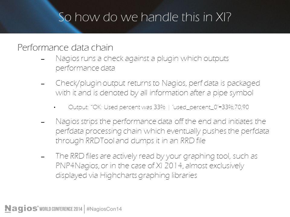 So how do we handle this in XI? Performance data chain – Nagios runs a check against a plugin which outputs performance data – Check/plugin output ret