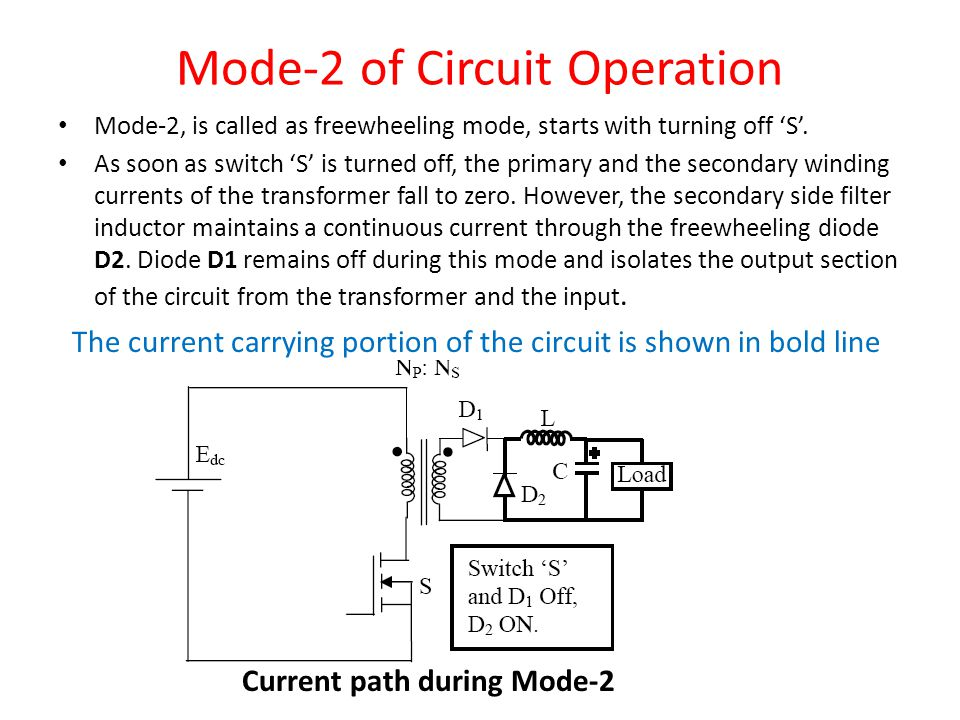 Mode-2 of Circuit Operation Mode-2, is called as freewheeling mode, starts with turning off 'S'.