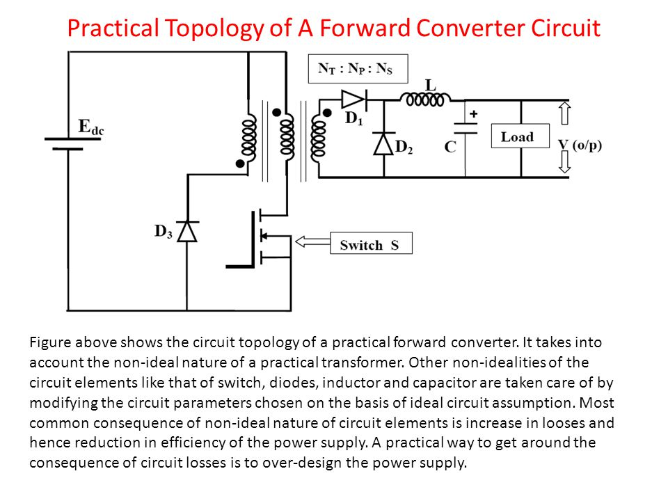 Practical Topology of A Forward Converter Circuit Figure above shows the circuit topology of a practical forward converter.