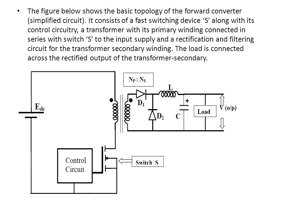 The figure below shows the basic topology of the forward converter (simplified circuit).