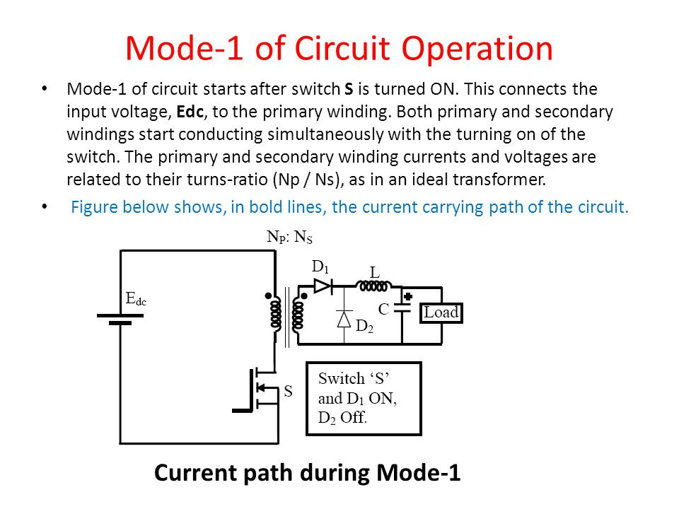 Mode-1 of Circuit Operation Mode-1 of circuit starts after switch S is turned ON.