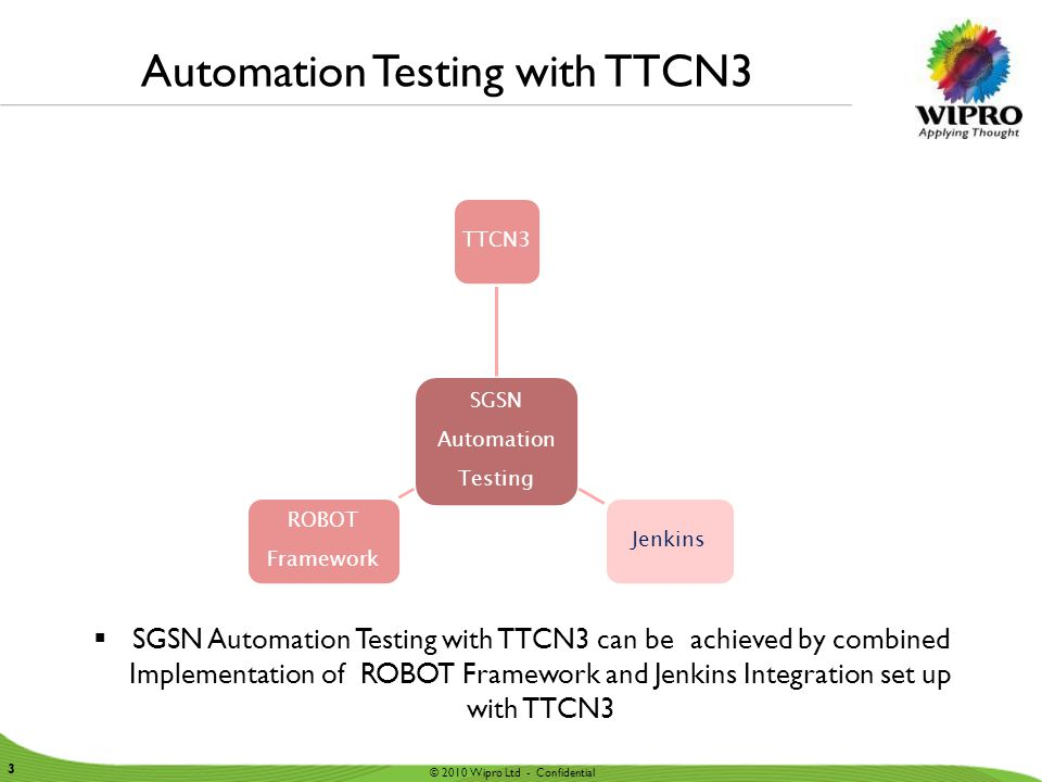 © 2010 Wipro Ltd - Confidential 3 3 Automation Testing with TTCN3  SGSN Automation Testing with TTCN3 can be achieved by combined Implementation of R