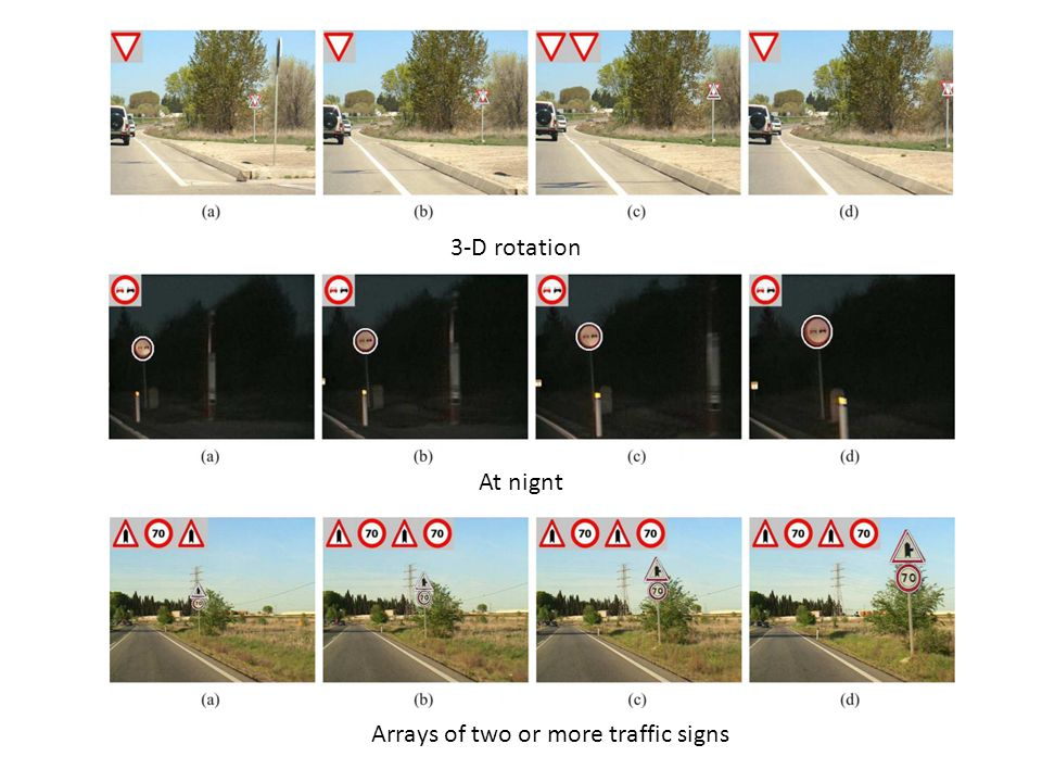 At nignt 3-D rotation Arrays of two or more traffic signs