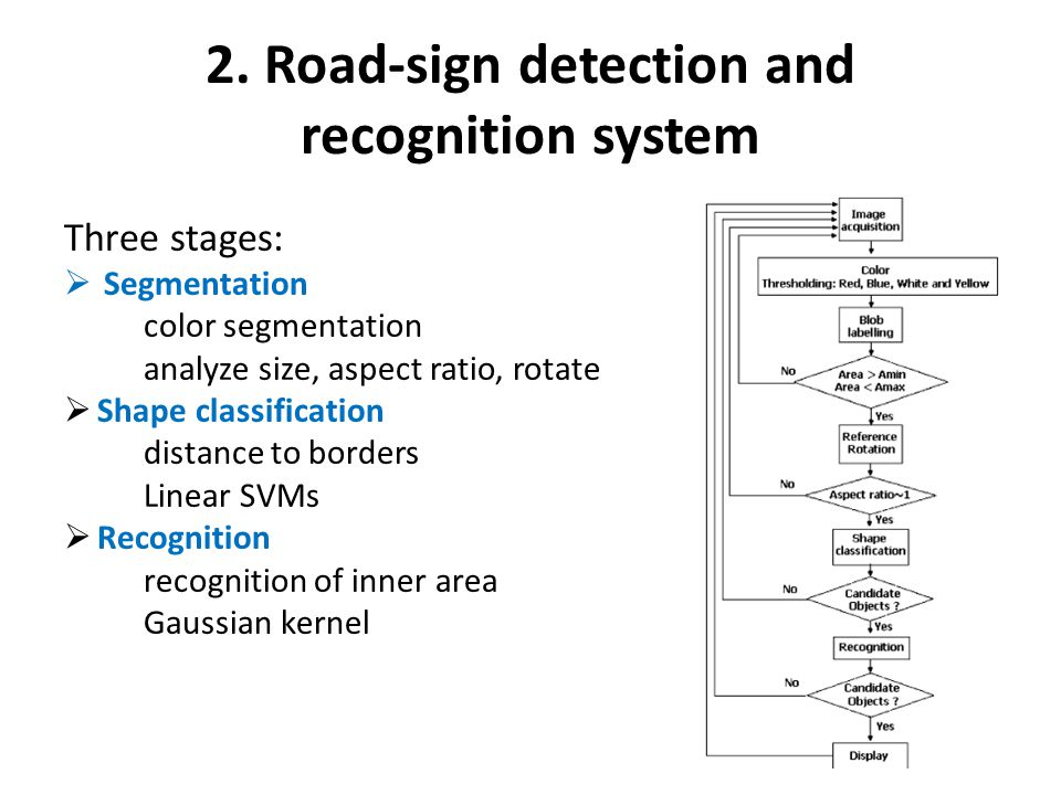 2. Road-sign detection and recognition system Three stages:  Segmentation color segmentation analyze size, aspect ratio, rotate  Shape classificatio