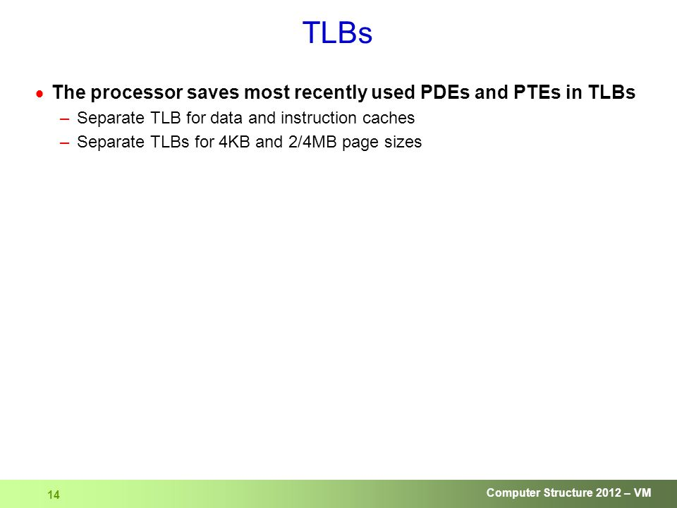 Computer Structure 2012 – VM 14 TLBs  The processor saves most recently used PDEs and PTEs in TLBs –Separate TLB for data and instruction caches –Separate TLBs for 4KB and 2/4MB page sizes