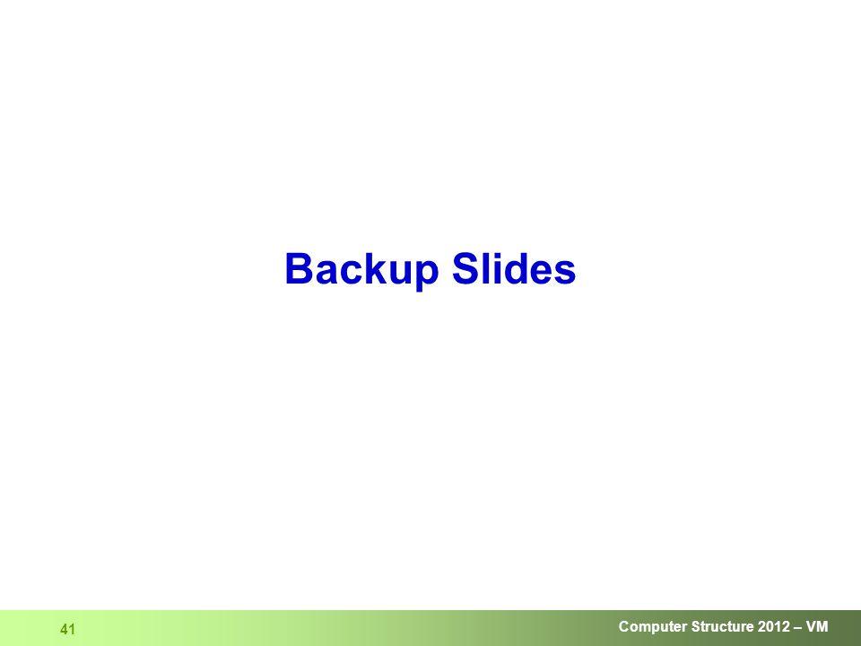 Computer Structure 2012 – VM 41 Backup Slides
