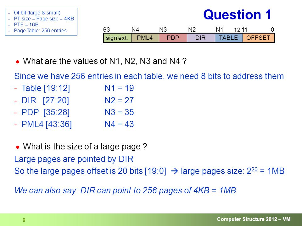Computer Structure 2012 – VM 10 Question 1 01119 12 63 sign ext.DIRTABLEOFFSETPDPPML4 273543  We access a sequence of virtual addresses For each address, what is the minimal number of tables that were added in all the hierarchies .