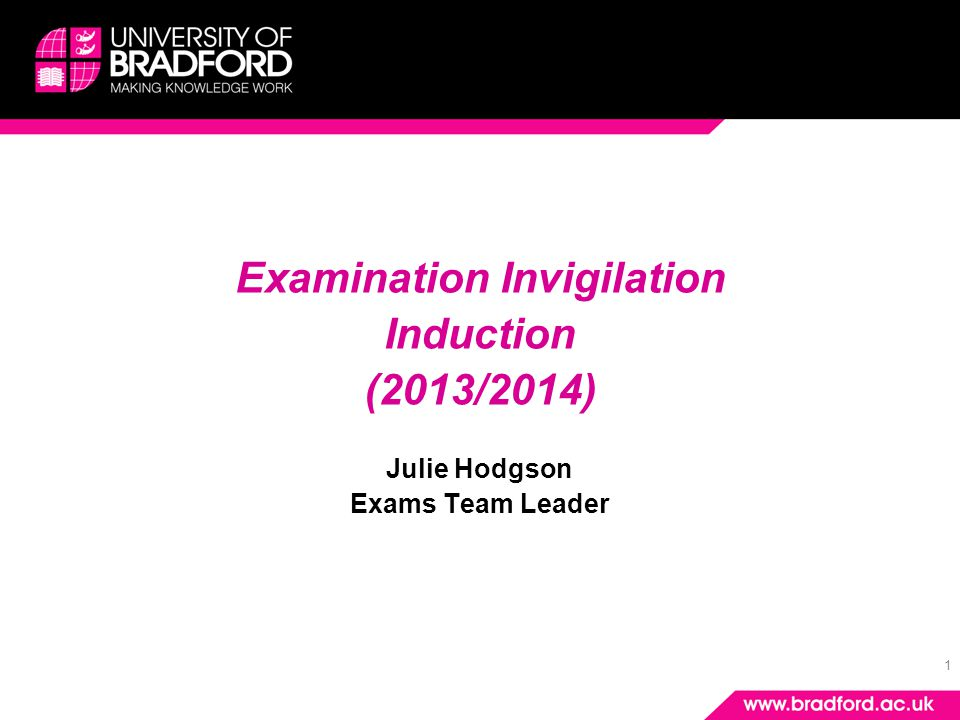 1 Examination Invigilation Induction (2013/2014) Julie Hodgson Exams Team Leader