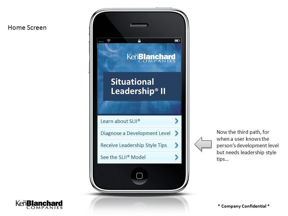* Company Confidential * Home Screen Now the third path, for when a user knows the person's development level but needs leadership style tips… Learn about SLII® Diagnose a Development Level Receive Leadership Style Tips See the SLII® Model Situational Leadership ® II a